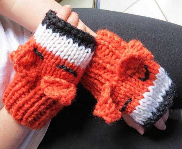 Foxy mitten knitting kit  - completed -  Peach Perfect