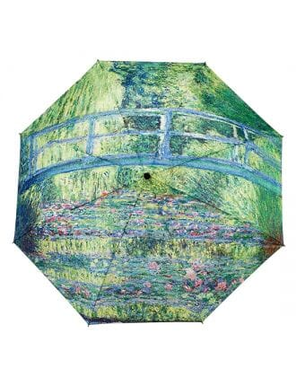Monet's Japanese Bridge folding umbrella by Galleria - Peach Perfect