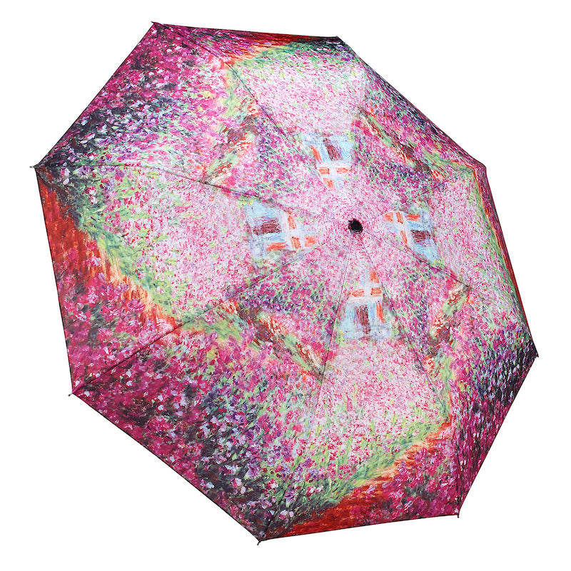 Monet's garden art umbrella  by Galleria - Peach Perfect