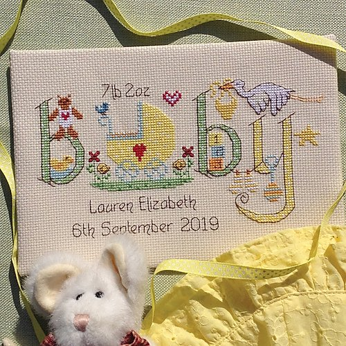 New baby sampler cross stitch kit by Nia - Peach Perfect