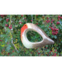 Novelty ceramic robin small bird feeder by Wildlife World in the garden - Peach Perfect