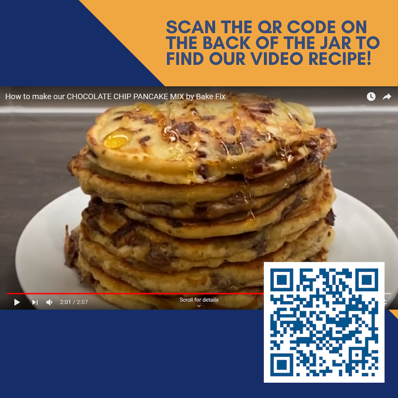 Chocolate chip pancake stack with the QR code for the video -