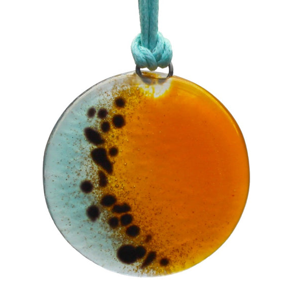 Handcrafted Fused Glass Pendant - Blue/orange