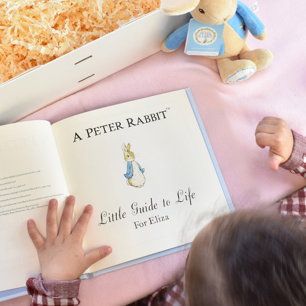 Peter Rabbit Personalised book and toy set - message page - Peach Perfect