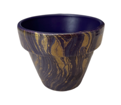 Mini plant pot with a dark purple background with gold and blue swirls