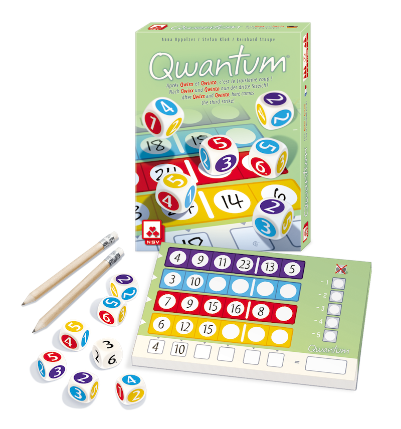 Qwantum strategy dice game in English - Contents - Peach Perfect - English version