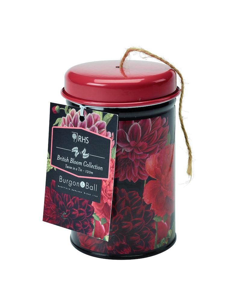 RHS British Bloom twine in a  tin by Burgon & Vall - Peach Perfect