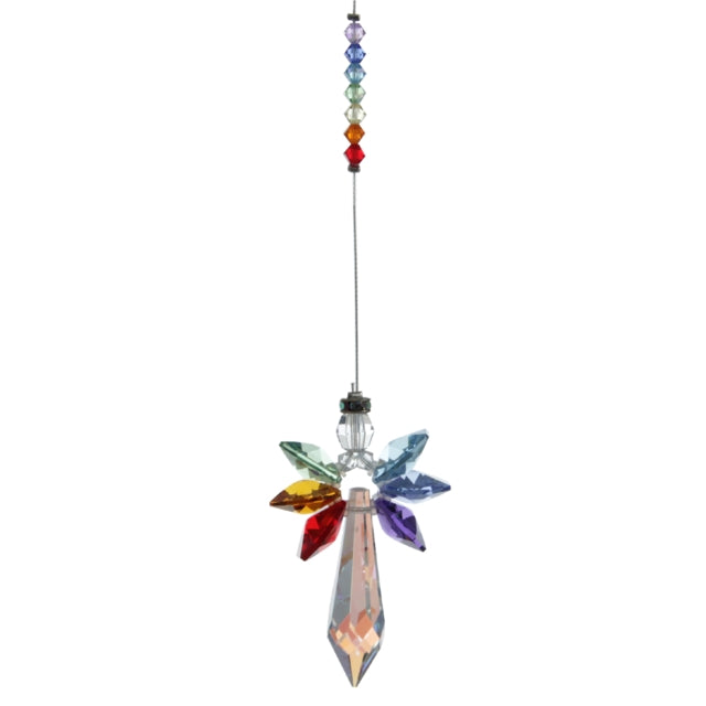 Hanging crystal ornament in multi colours with large pendant crystal and 6 smaller crystals as wings. Small bead crystals above