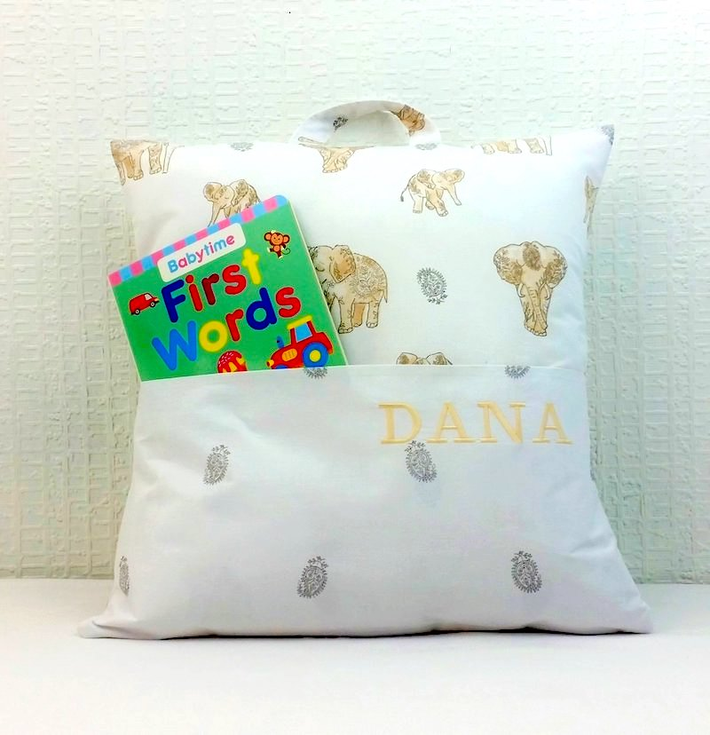 Personalised book cushion - elephants - Peach Perfect