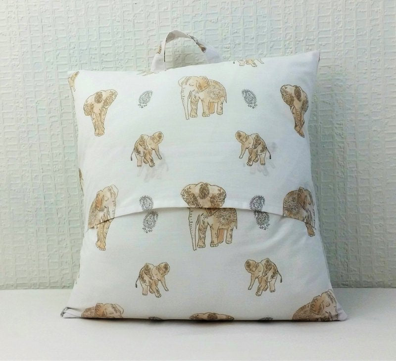Personalised book cushion - elephants , back of cushion