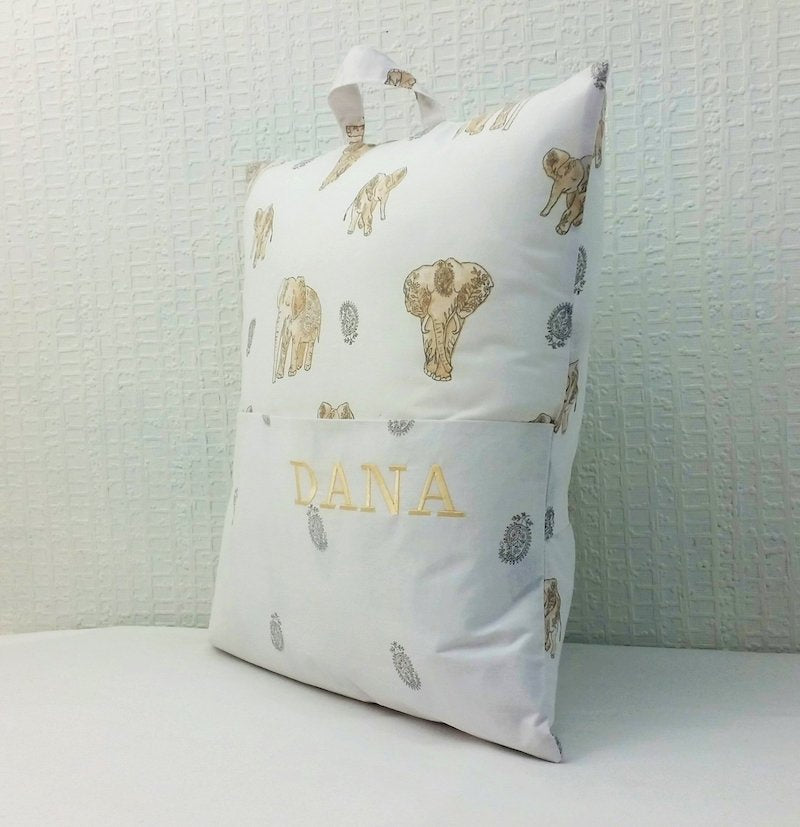 Personalised book cushion - elephants - life view