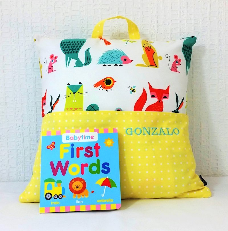 Personalised reading cushion  with First Words book- Forest Friends - Peach Perfect