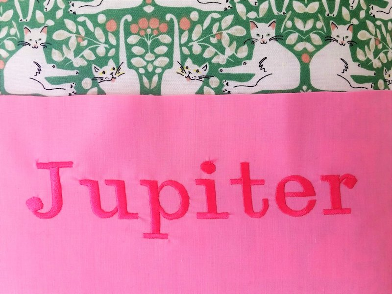 Personalised Reading cushion cat design, detail of name  - Peach Perfect