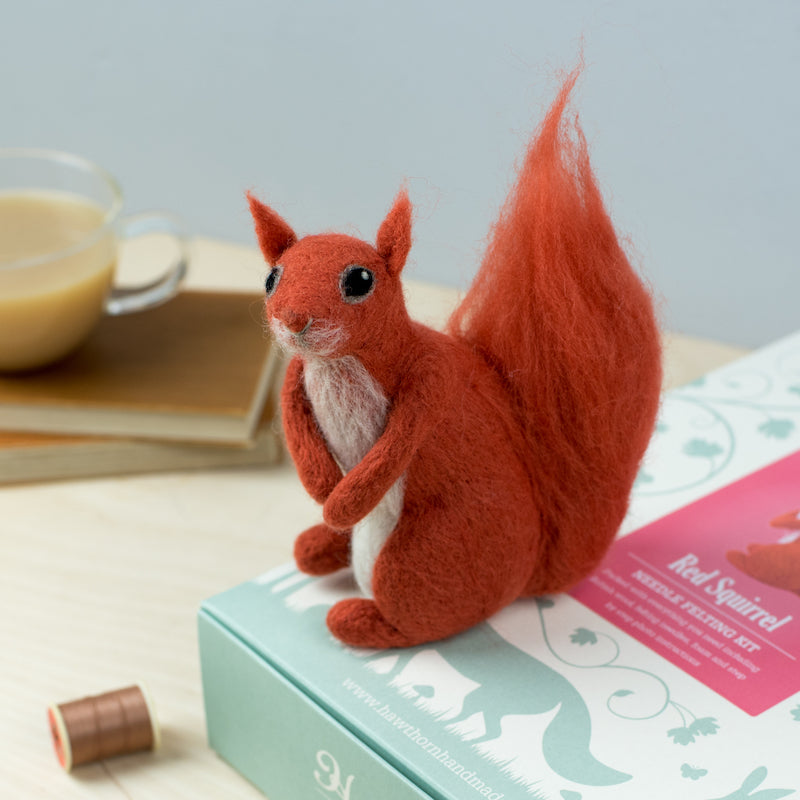 Red Squirrel on needle felting box - Peach Perfect