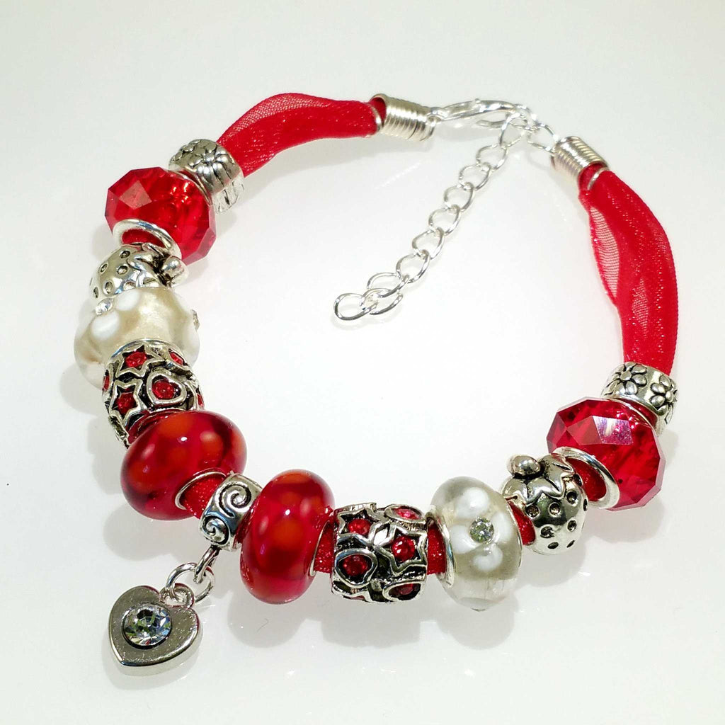 Murano bead bracelet in red - Peach Perfect