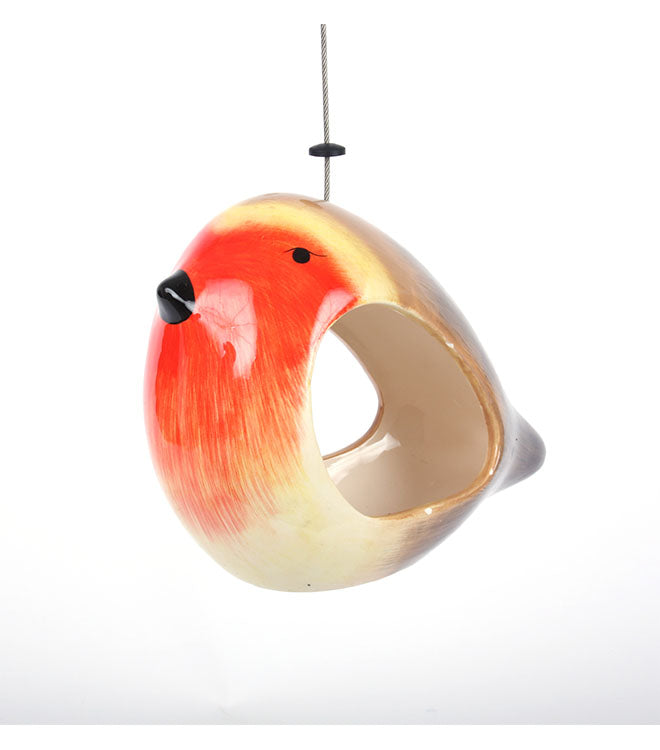 Novelty ceramic robin small bird feeder by Wildlife World - Peach Perfect