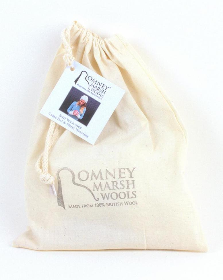 Romney Marsh Hat and wrist warmer knitting kit in bag - Peach Perfect