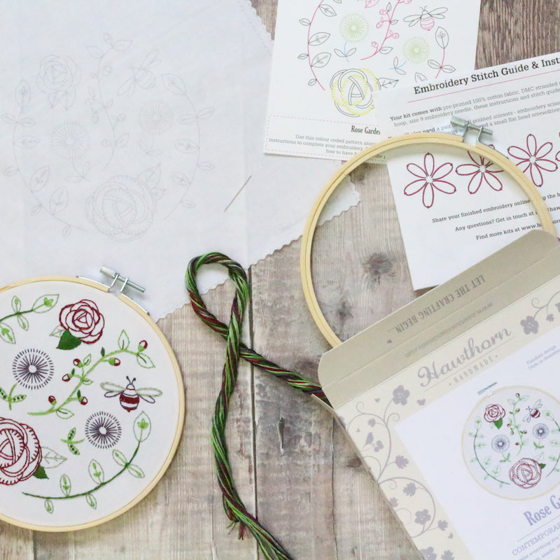 Rose garden embroidery kit contents - Peach Perfect