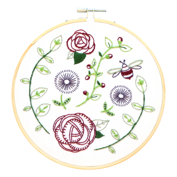 Rose garden embroidery kit by Hawthorn Handmade - Peach Perfect
