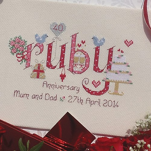 Ruby anniversary cross stitch sampler kit by Nia - Peach Perfect