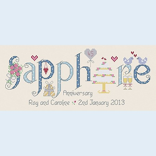 Sapphire anniversary cross stitch sampler kit by Nia - Peach Perfect