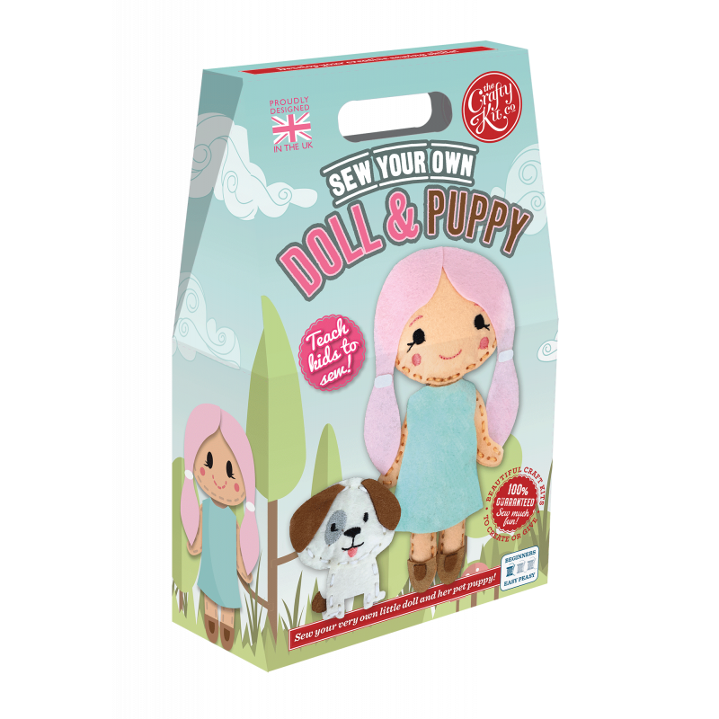 Doll & puppy sewing kit - Crafty Kit Company - Peach Perfect