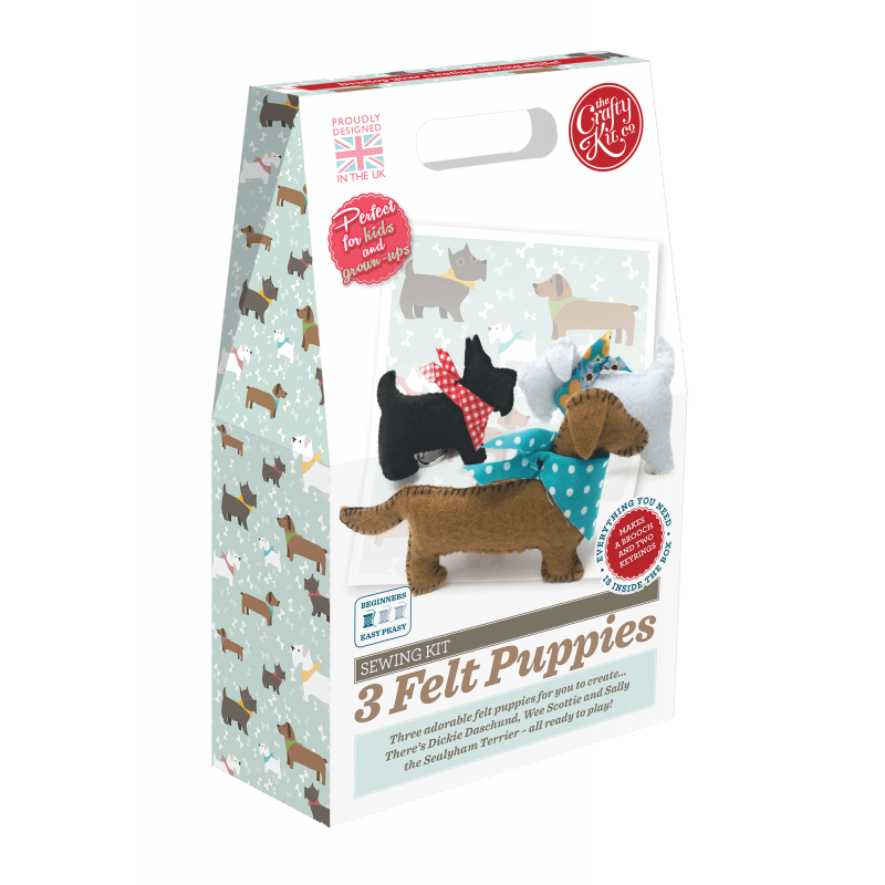 Felt puppies sewing kit by Crafty Kit Company - Peach Perfect