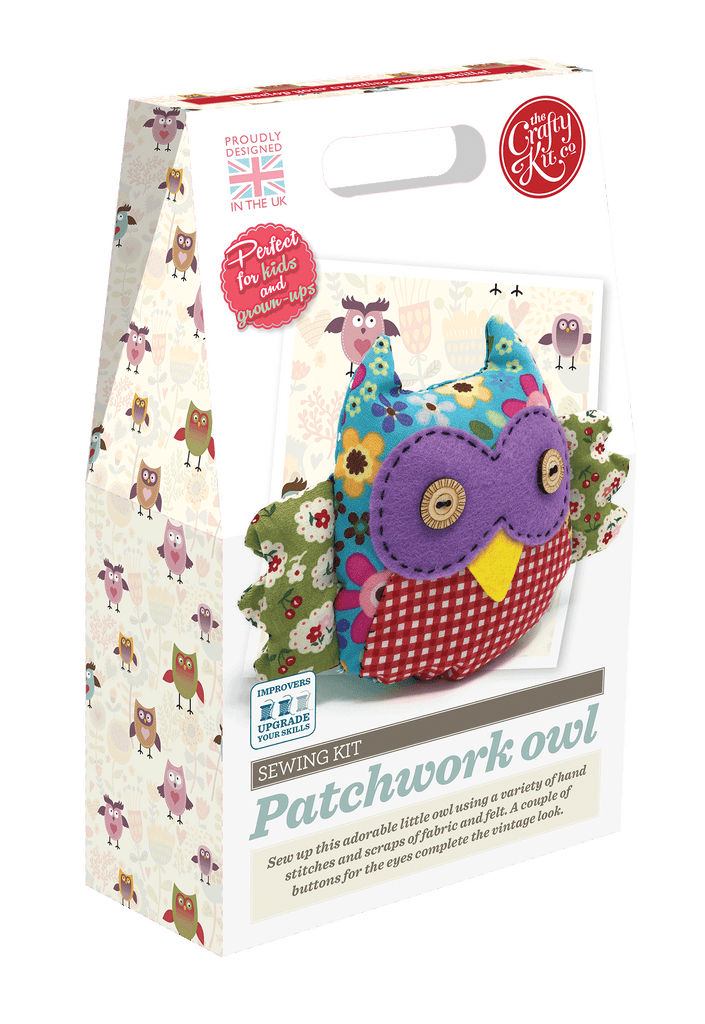 Patchwork Owl sewing kit by The Crafty Kit Company - Peach Perfect