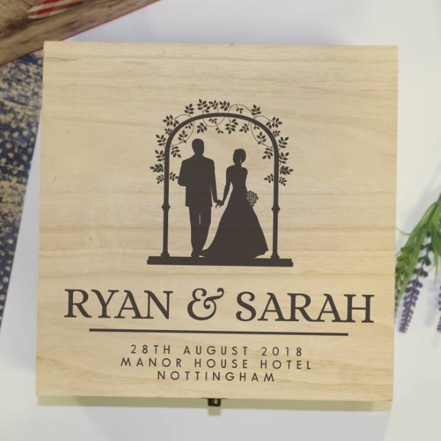 Personalised wooden wedding memory box - Peach Perfect