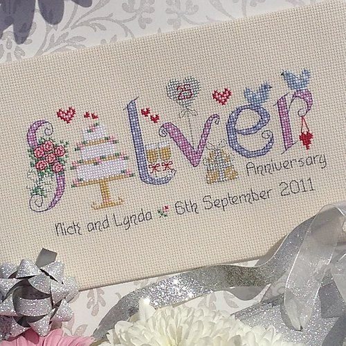 Silver anniversary cross stitch sampler kit - Peach Perfect