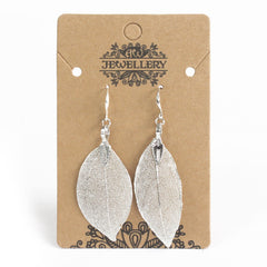 Silver coloured real leaf earrings on a display card