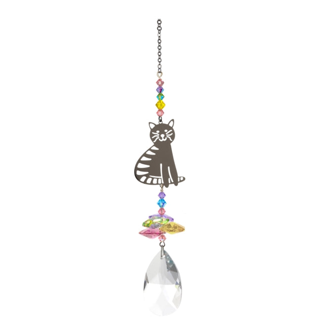 Hanging crystal ornament with a metal cut out of a sitting cat above pastel coloured crystals and a large pear shaped Swarovski crystal