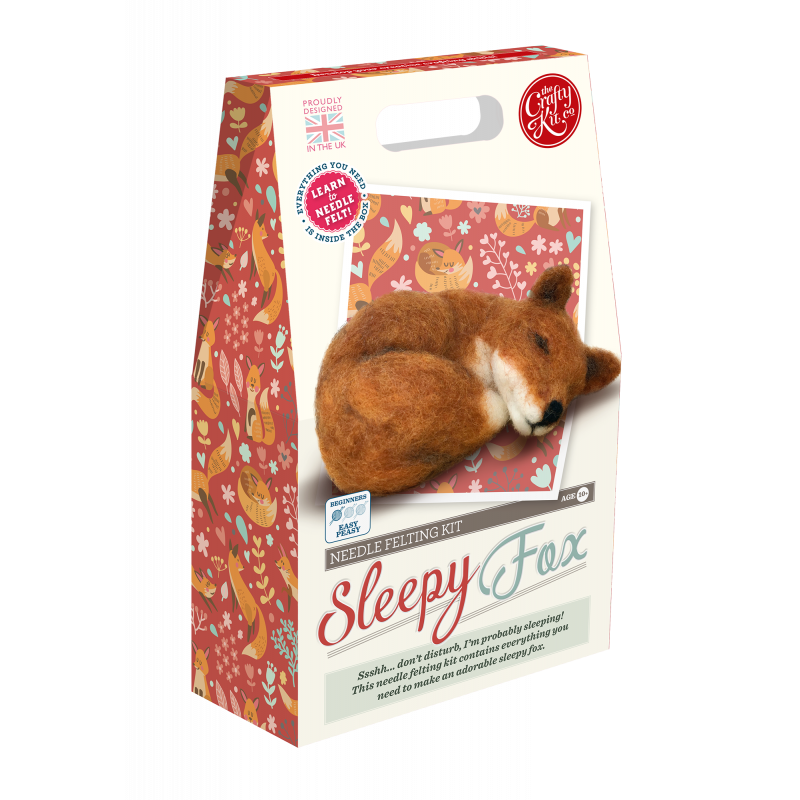 Sleepy Fox needle felting kit by Crafty Kit Company - Peach Perfect