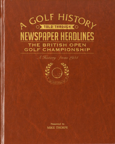 Personalised Open golf Championship book cover - Peach Perfect