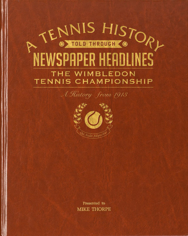 Personalised Wimbledon Tennis newspaper book embossed cover - Peach Perfect