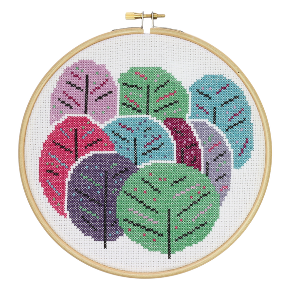 Spring Trees Cross Stitch kit by Hawthorn Handmade - Peach Perfect