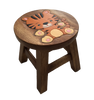 Child's Wooden stool with carved and painted tiger on the seat - Peach Perfect
