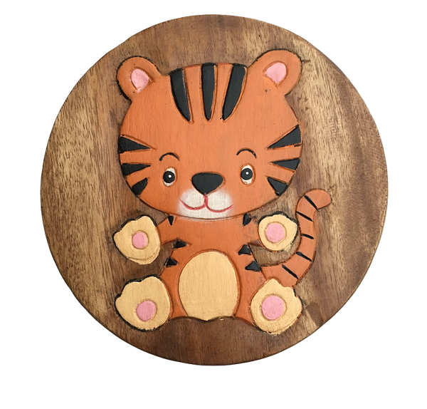 Fair trade child's tiger stool by Sunlover - Peach Perfect
