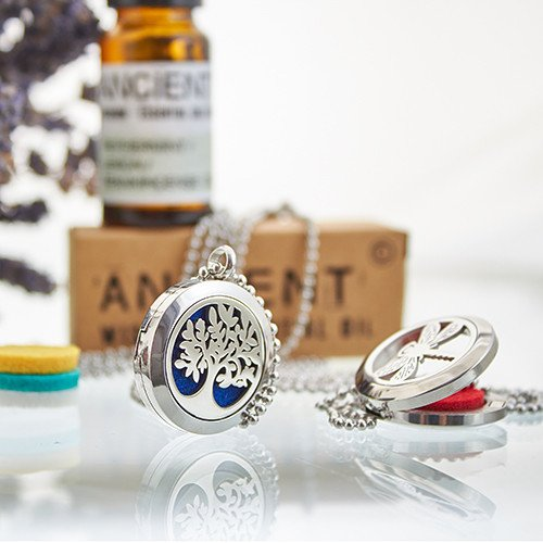 Tree of Life Aromatherapy diffuser necklace lifestyle - Peach Perfect