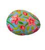 Detail of turquoise paper mâché  egg-shaped box decorated with red/pink flowers and green leaves.