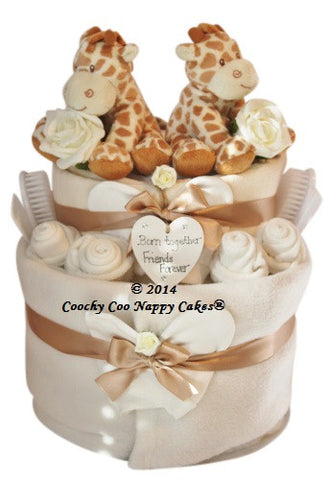 Nappy Cake for Twins - Peach Perfect