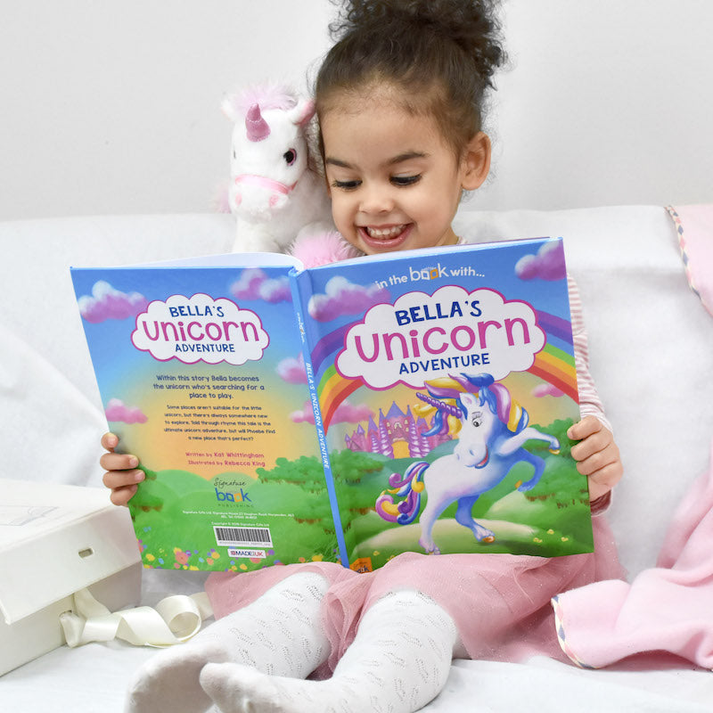 Personalised Unicorn Story book & plush toy set - with child - Peach Perfect