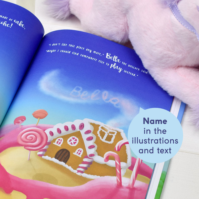 Personalised Unicorn Story book & plush toy set - text - Peach Perfect