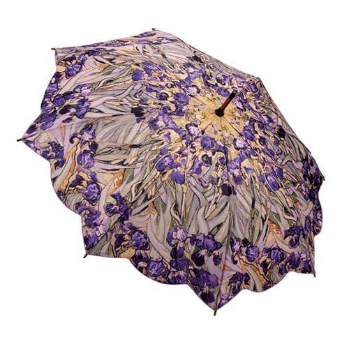 Van Gogh Irises Walking Stick Umbrella by Galleria - Peach Perfect