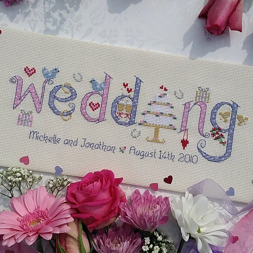 Wedding Cross stitch sampler kit by Nia - Peach Perfect