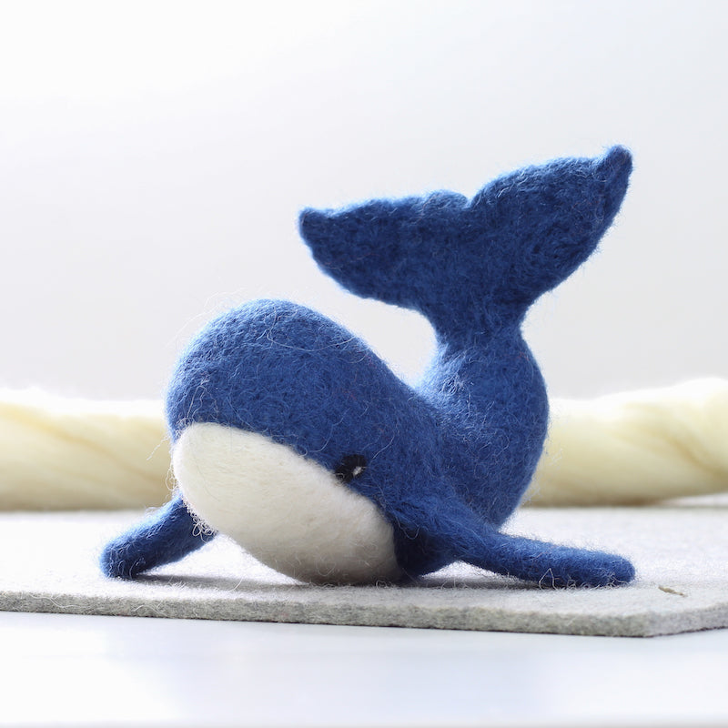 Whale wool sculpture made with Hawthorn Handmade Needle felting kit - Peach Perfect