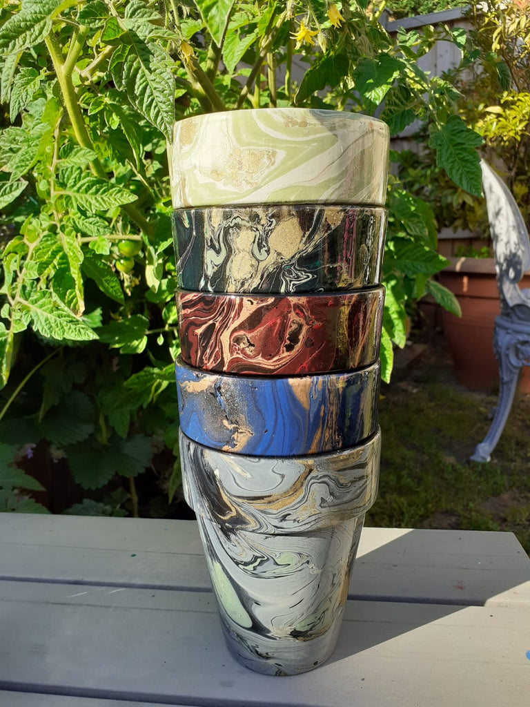 Decorated Plant Pots by Elemental Designware -  stacked - Peach Perfect