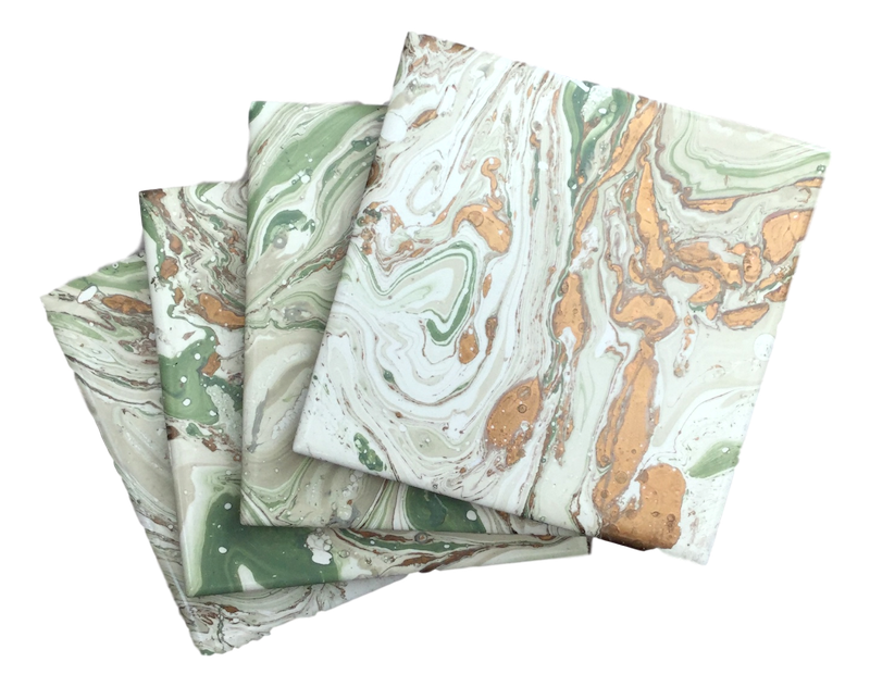 White & sage hand decorated coasters, in a fan - Peach Perfect
