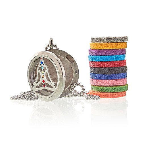 Yoga Chakra Aromatherapy necklace with pads - Peach Perfect