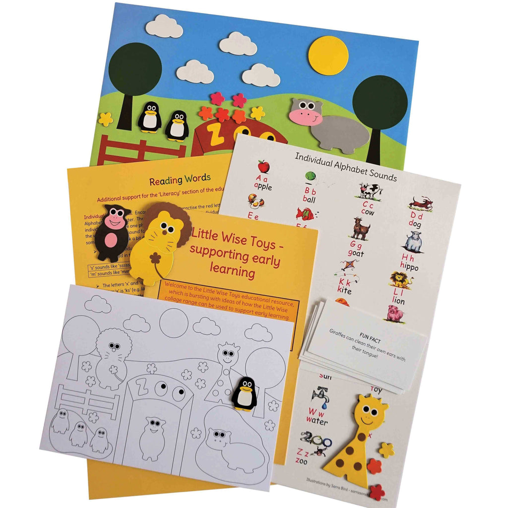 Little wise toys magnetic collage kit - Zoo shapes - Peach Perfect